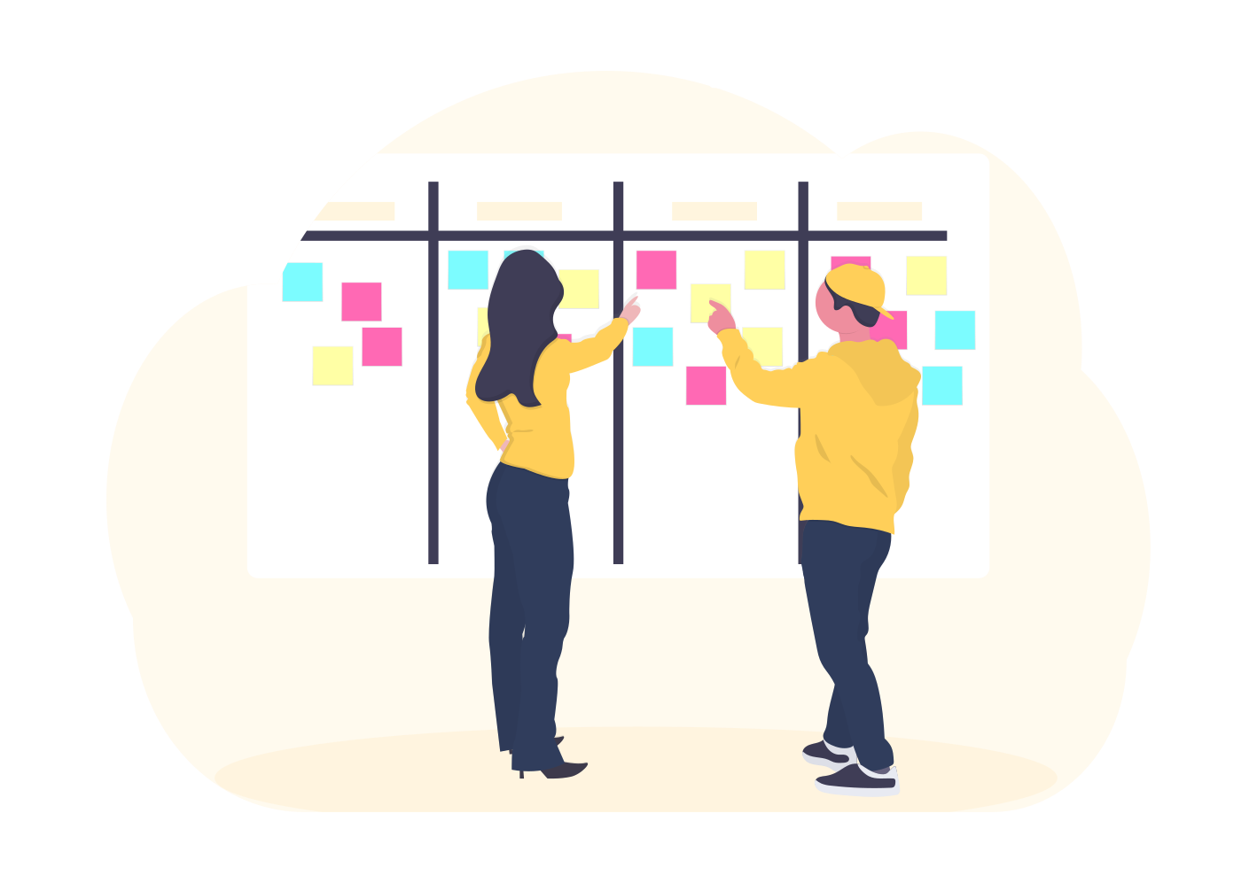 two people and a kanban board