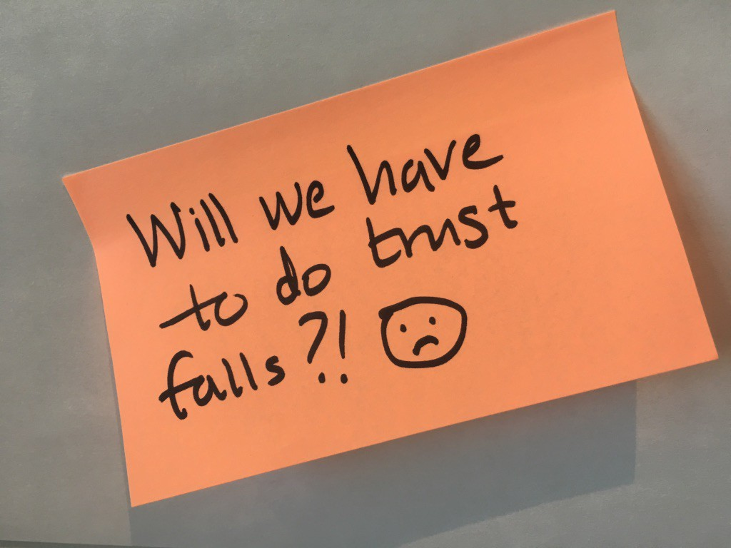 sticky note with question about trust falls