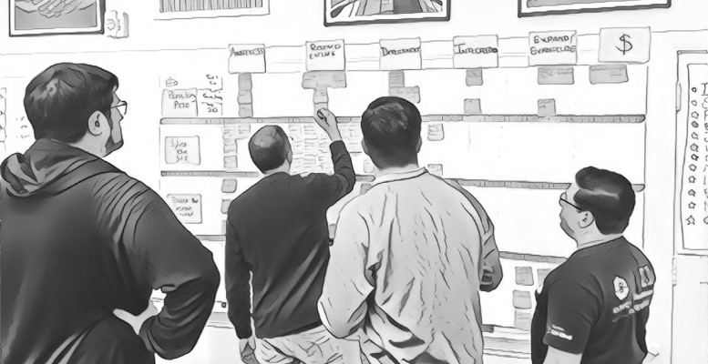 people working with a journey map